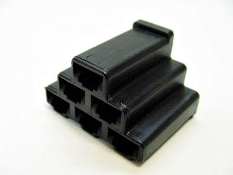 6 Way Terminal Housing Female Black Delphi Packard, Terminal Housing, Connector Housing, 56 Series 02977233-B