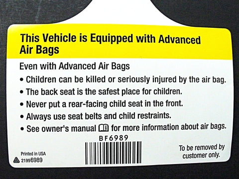 Airbag Restraint Glovebox Warning Label Tag GM 2000-Up