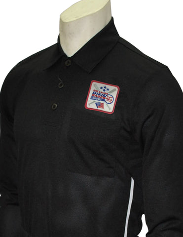 BBS311DX-Smitty Major League Style Long Sleeve Umpire Shirt with Dixie Patch - Available in Black and Carolina Blue