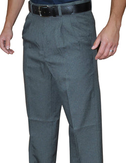 "BBS384P-Non-Expander Waistband ""75/25 Charcoal Poly/Wool"" - Pro Style Pleated Base Pants"