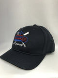 HT304DX-4 Stitch Flex Fit Umpire Hat with Dixie Baseball Embroidered Logo Umpire Hat-Available in Black and Navy