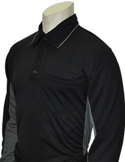 USA313-Smitty Major League Style Umpire Long Sleeve Shirt - Available in Black/Charcoal and Sky Blue/Black