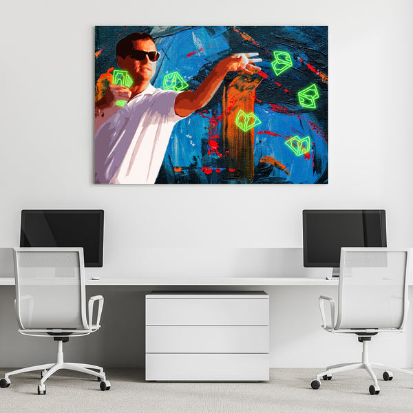 wolf of wall street canvas, 16 x 12