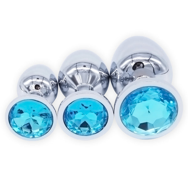 Stainless Steel Jeweled Anal Plug - Set of Three Bundle