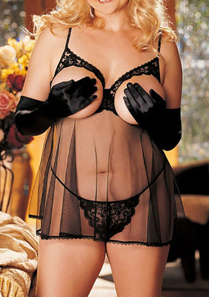 Plus size Sexy Hot Transparent See-Through Lingerie with Bra and Thong Lingerie - Sex Toys Wunderland