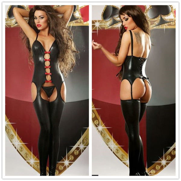 Sexy Novelty Women's Black Faux Leather Latex Catsuit Stripper Lingerie Lingerie - Sex Toys Wunderland