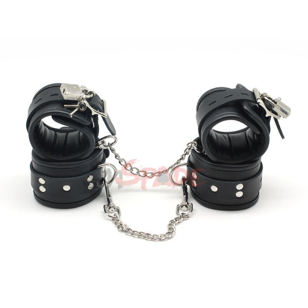 Bondage Restraint Kit: Black Leather Handcuffs and Anklecuffs with locking buckles and keys