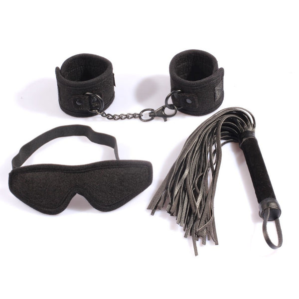 Black Velvet Handcuffs Blindfold Mask Leather Flogger Whip Kit