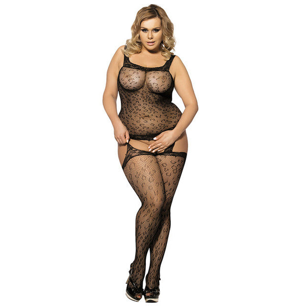 Sexy Leopard Patterned Plus Size Bodystocking Lingerie Lingerie - Sex Toys Wunderland