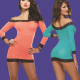 Long Sleeve Babydoll Strapless Women Sexy NightGown
