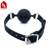 Breathable Black Silicone Mouth Gag Bondage - Sex Toys Wunderland