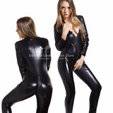 Women's Black Vinyl Latex Body Suit Fetish Wear - Available in Sizes S-XXL