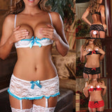 Womens Sexy  Lace Open Cup Shelf Bra Garter Belt+G-string Lingerie - Sex Toys Wunderland