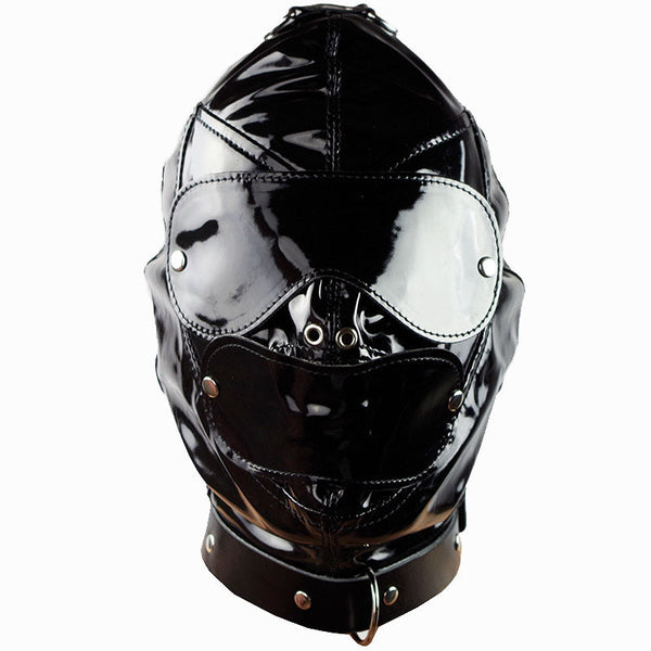 Men Mask Hood Restraints PVC Leather Sex SLEEVE Dog Slave Fun Headgear Hoods Bondage - Sex Toys Wunderland