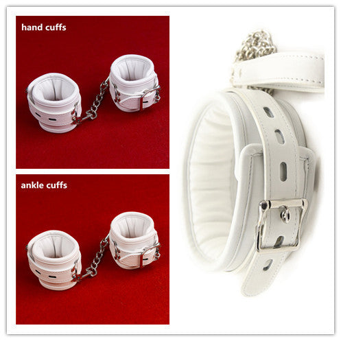 White Leather Soft Padded Bondage Kit Hands Cuffs & Ankle Cuffs & Neck Collar With Leash Bondage