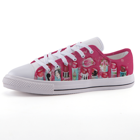 Pink Lipstick Low-top fashion canvas shoes