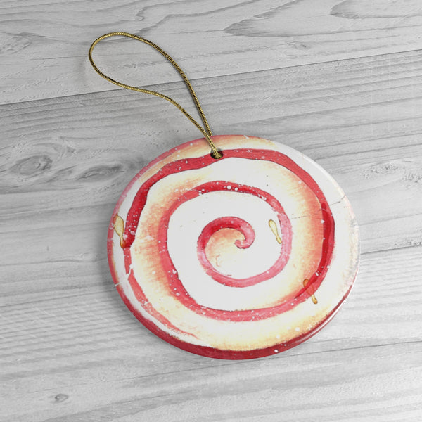 Ceramic Peppermint Candy Tree Ornament