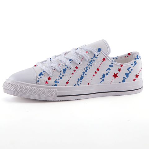 Red, White & Blue Low-top fashion canvas shoes
