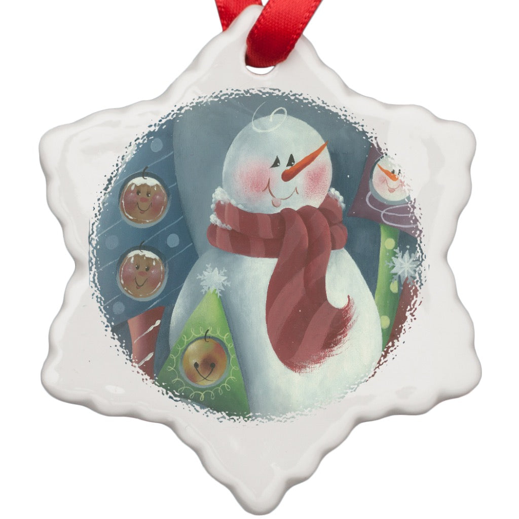 Snowman Porcelain Ornament