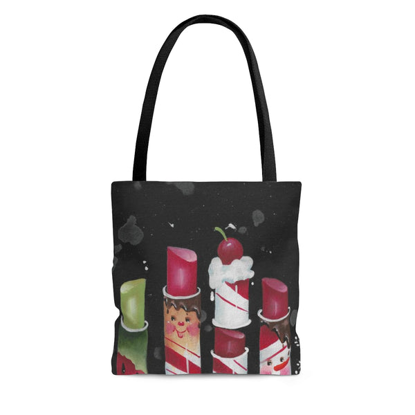 Candy Cane Lipstick Tote Bag