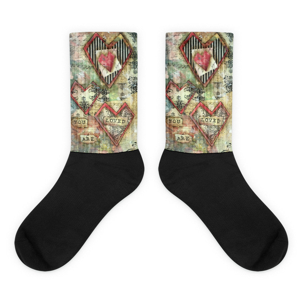 You are Loved - Black foot socks