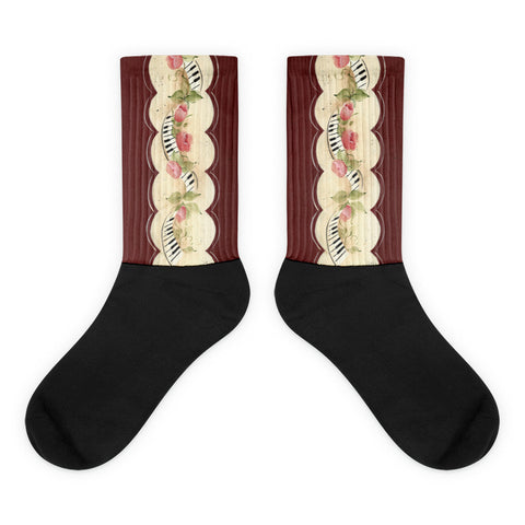 Piano Keys - Black foot socks