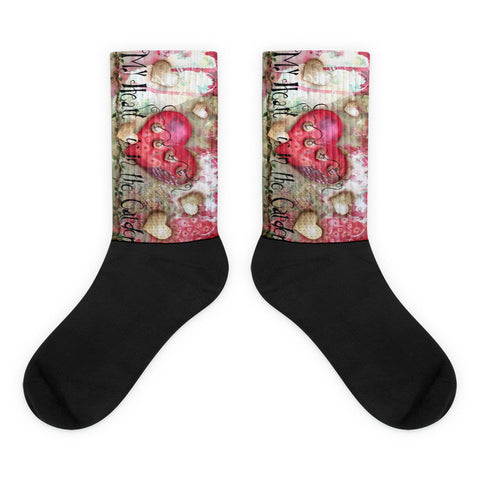 My Heart is in the Garden - Black foot socks