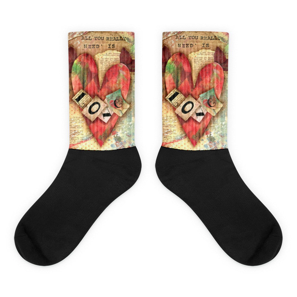 All You Really Need is Love - Black foot socks