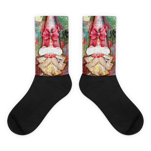 Red Bowtie Santa Hat - Black foot socks