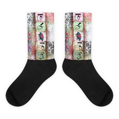 Love Notes - Black foot socks