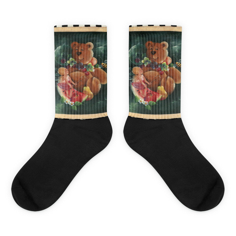 Teddy Bear and Fairy - Black foot socks