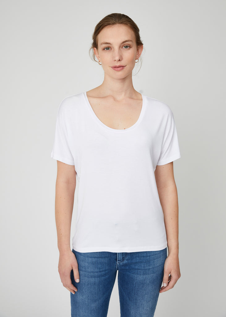 Chloe Pima Cotton Scoop Tee