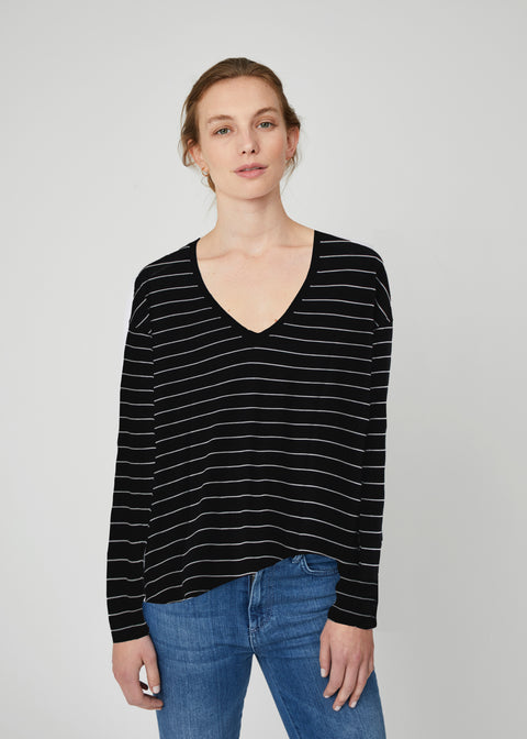 Louise Pima Cotton Long Sleeve V-neck Tee