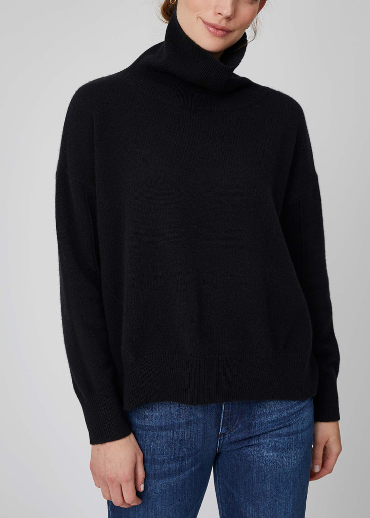Ebony Square Cashmere Turtleneck