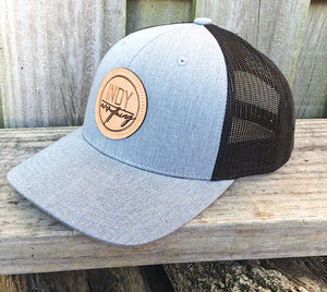 TRUCKER HAT - BLACK AND GRAY W/ LEATHER BADGE - Indy Over Everything
