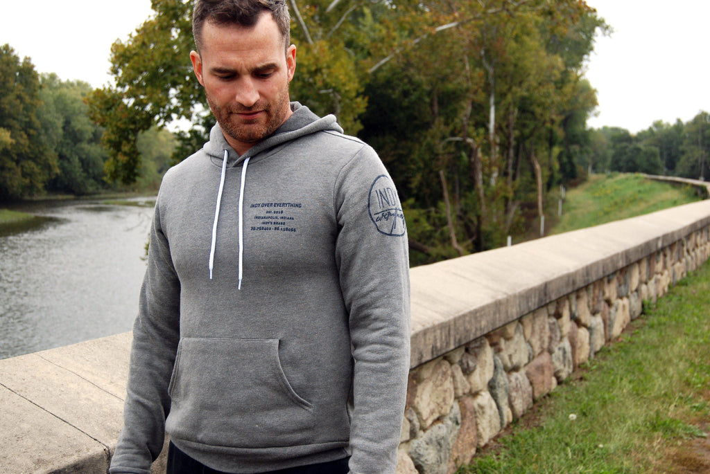 Brand Badge Hoodie - Grey - Indy Over Everything
