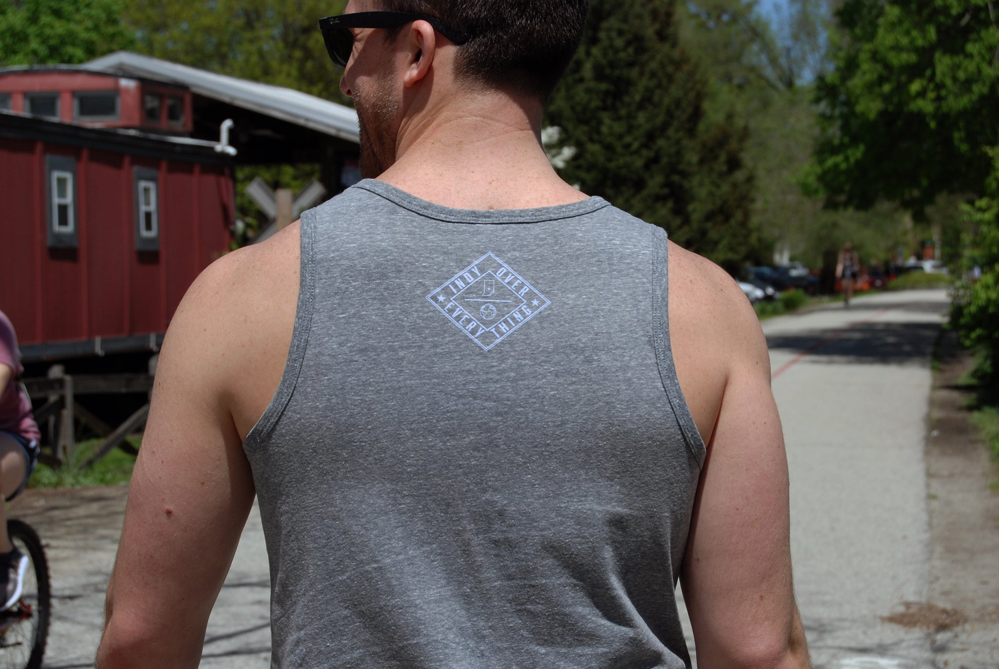 MENS LOGO TANK - GREY - Indy Over Everything