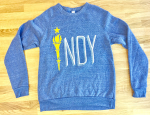 TORCH CREW NECK SWEATSHIRT- Light Blue - Indy Over Everything