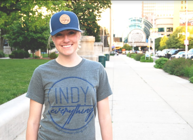 TRUCKER HAT - NAVY AND WHITE W/ LEATHER BADGE - Indy Over Everything