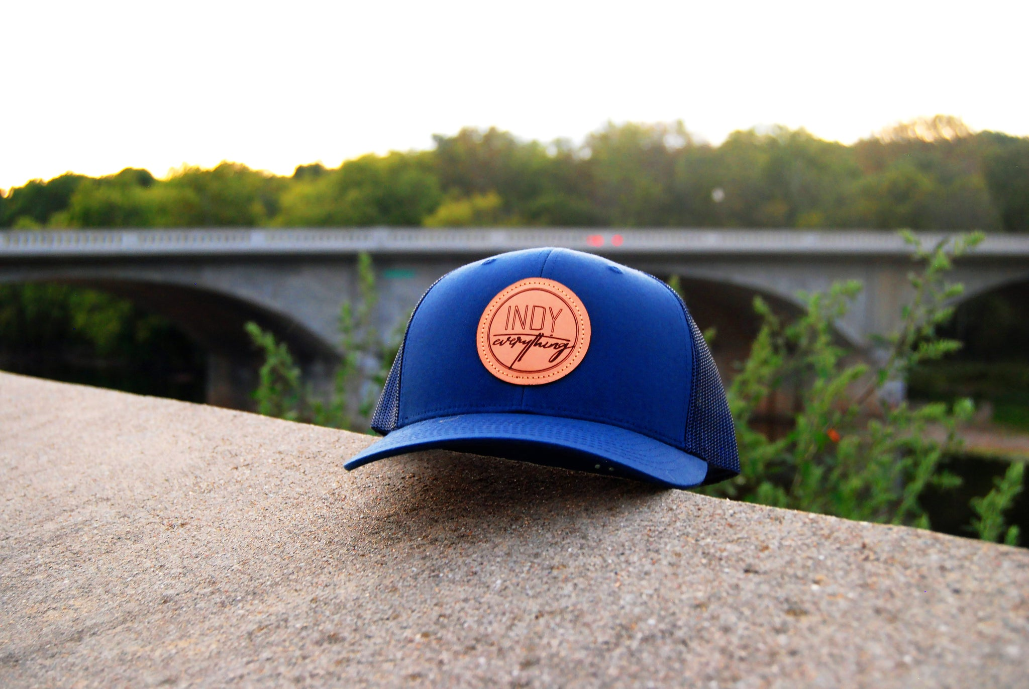 TRUCKER HAT - NAVY AND NAVY W/ LEATHER BADGE - Indy Over Everything