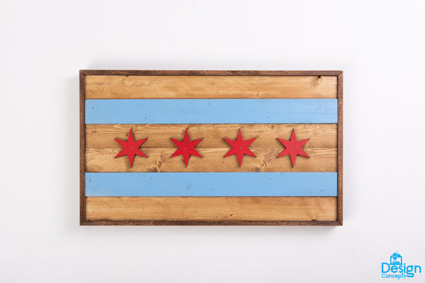 Fast Ship- Rustic Wooden 3D Chicago Flag Wall Art - Design Concepts Chi