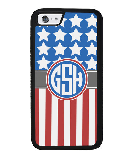 American Flag Circle Monogram | Apple iPhone Case