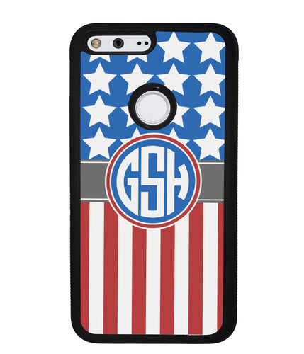 American Flag Circle Monogram | Google Phone Case