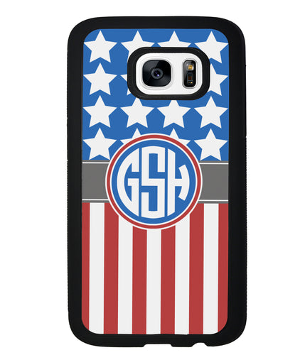 American Flag Circle Monogram | Samsung Phone Case