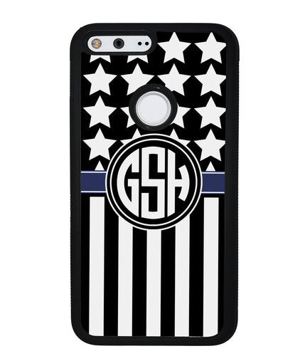 American Flag Cop Blue Line Circle Monogram | Google Phone Case