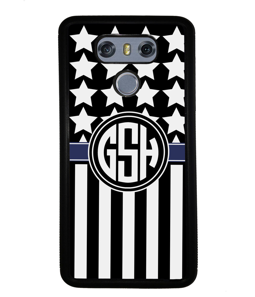 American Flag Cop Blue Line Circle Monogram | LG Phone Case