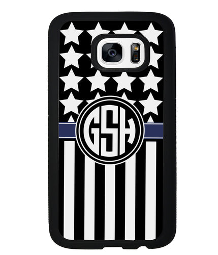 American Flag Cop Blue Line Circle Monogram | Samsung Case