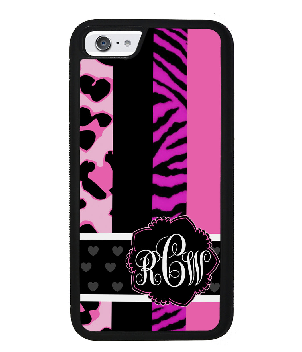 Animal Prints Pink Collage Monogram | Apple iPhone Case
