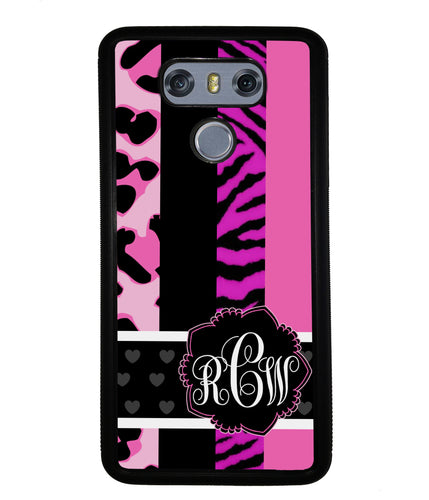Animal Prints Pink Collage Monogram | LG Phone Case