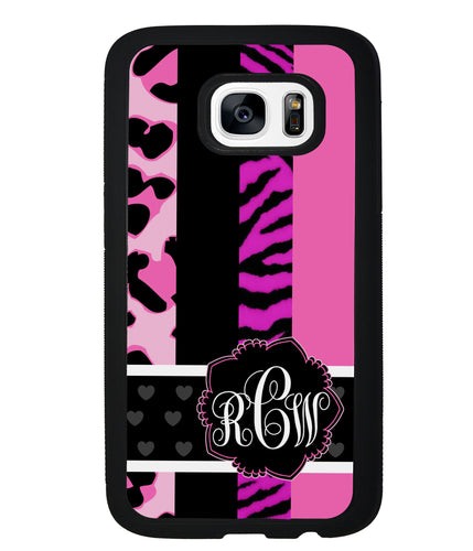 Animal Prints Pink Collage Monogram | Samsung Phone Case